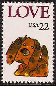 USPS Puppy Love stamp 1-30-1986 (5th in love series) Designed by Saul Mandel.