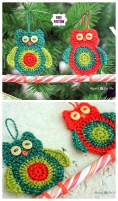Crochet Owl Candy Cane Ornaments Free Crochet Pattern [Free Pattern] Double Trouble Crochet BlanketModesty Panel Free Crochet PatternThis Messy Bun Hat Pattern is Yours, Free! Christmas Crochet Patterns, Crochet Christmas Ornaments, Holiday Crochet, Christmas Candy, Crochet Owls, Crochet Gifts, Crochet Animals, Candy Cane Ornament, Crochet Hook Set
