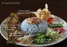 Nasi Ulam (Herb Rice Salad) is a feature in Malay cuisine, usually it'sa steamedricemixed with various herbs,vegetables, spices and accompanied with various side dishes. There's 2 p…