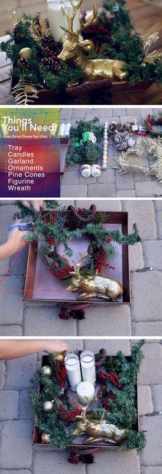 Holiday Tray   Easy Christmas Decor Ideas DIY Projects