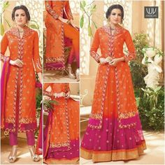 Pleasing Orange And Pink Color Georgette Anarkali Suit