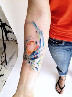 Van Gogh-inspired tattoo by Amanda Wachob-I love these tattoos that look as though they're painted on