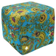 @Overstock.com - Aqua Kantha Pouf Ottoman (India) - Bright and colorful, this stylish pouf ottoman features a vibrant paisley print on a durable cotton cover with a foam fill. This attractive ottoman was handcrafted by Indian artisans and can be used as added seating, footrest, accent table and more.  http://www.overstock.com/Worldstock-Fair-Trade/Aqua-Kantha-Pouf-Ottoman-India/8433557/product.html?CID=214117 $84.99