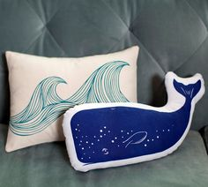 COMBO DEAL - teal wave pillow & navy whale. $42.00, via Etsy.