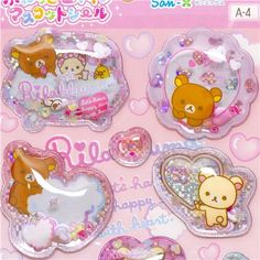 cute soft capsule Rilakkuma bear stickers with small beads, glitter stars, cute soft capsule stickers with Rilakkuma characters (yellow chick, brown and white bear), foam and hearts Kawaii Stickers, Cute Stickers, Aesthetic Themes, Aesthetic Grunge, Cute School Supplies, Kawaii Stationery, Modes4u, Magic Book, Cute Japanese