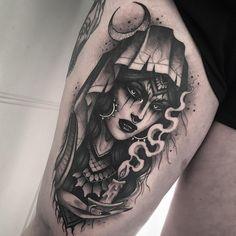Done last week at Ben Pearce 🖤 . Piercing Tattoo, Medusa Tattoo, Witch Tattoo, Epic Tattoo, Badass Tattoos, Cool Tattoos, Gypsy Tattoos, Time Tattoos, Body Art Tattoos
