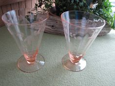 Pink Depression Glasses two footed parfait glasses by LazyYVintage