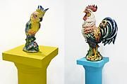 Gülsün Karamustafa,   Shrine Online (detail), 2011   15 fiberglass cast pedestals with different forms and heights,   (variable from 36 inches to 87 inches) combining with 15   porcelain bird figurines (height variable from 8 inches to   25 inches)