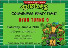 Free TMNT Invitation Template. Teenage Mutant Ninja Turtles.