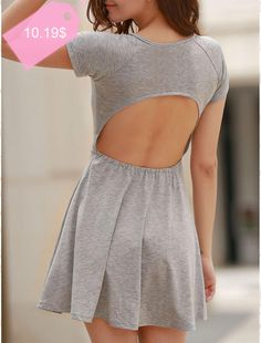 Refreshing Scoop Neck High Waist Backless Gray Dress For Women