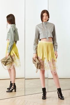 Alexis Mabille Resort 2015 - So in love with the sheer lace detail on the bottom of the clog skirt.