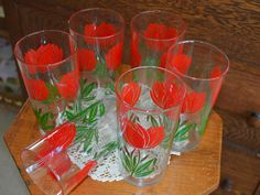 Vintage Red Tulip Tumblers, Depression Glass, Floral Drinking Glasses, Set of 6, 12  oz, Christmas Glasses, Red & Green, 1930's, Kitchenware by PrettyNiceVintage on Etsy