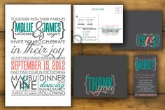 Modern, printable Wedding invitation, RSVP Postcard and reverse design- Custom, teal and peach Design- The Mollie. $70.00, via Etsy.