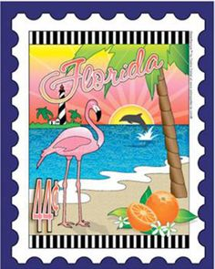 State Stamp Fabric Panel - Florida Mini Panel by Debra Gabel for Zebra Patterns by RealStitchersofTexas on Etsy