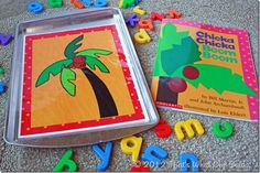 Free Chicka Chicka Boom Boom printable--print, laminate, attach to cookie sheet, and use magnetic letters for play!