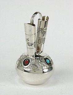 Navajo Handmade Sterling Silver and Turquioise Miniature Wedding Vase