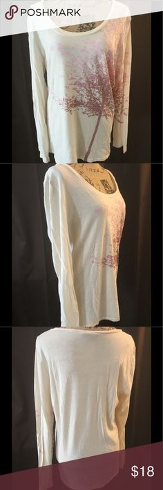 Miss Sixty graphic long sleeve Tshirt. XL Cream base w/ pink/mauve graphics. Measurements: pit to pit-21 inches. Pre💜excellent condition Miss Sixty Tops Tees - Long Sleeve