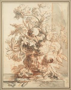 Jan van Huysum Flowers in an Urn Decorated with Putti Early 18th century