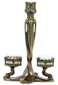 9.75 inch Taper and 2 armed Tealight Tulip Art Nouveau Candle Holder - This gorgeous candle holder features the curving, elegant lines of the Art Nouveau movement.  It will add vintage grace to any home décor.  $48.70