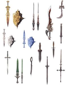 View an image titled 'Gladiator Weapons Art' in our Final Fantasy XIV: A Realm Reborn art gallery featuring official character designs, concept art, and promo pictures. Final Fantasy Xiv, Fantasy Armor, Fantasy Weapons, Medieval Fantasy, Dark Fantasy, Prop Design, Game Design, Character Art, Character Design