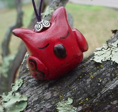 SOOO cute! Owl ornament red and black by TheRusticHome on Etsy, $9.99