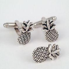 Men's Silver Pineapple Cufflinks Tie Tack, New Ananas Cuff Links Set Guys Gift #Handmade