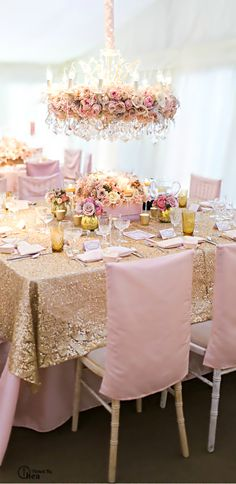 Blush, Pink and Gold Tablescape with Floral Chandelier and Sequin Table Runner.  Pinned by Afloral.com from http://www.theperfectpalette.com/ ~Afloral.com has high-quality silk flowers and decorations to create your own luxe table.