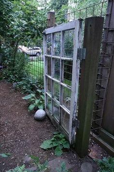 old window frame as a garden gate