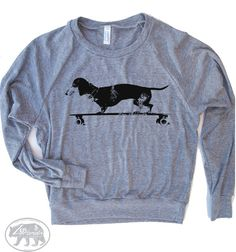 Womens Longboard DACHSHUND Tri-Blend Pullover by ZenThreads