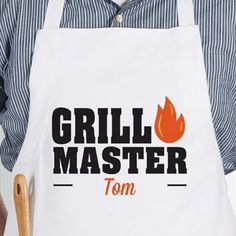 Never forget who runs the grill with the Master of the Grill Adult Apron in White. Personalize with any name to be featured beneath the grill master design. A perfect gift for Father's Day, a birthday, or any other special occasion. Gifts For Father, Mother Gifts, Grill Apron, Custom Aprons, Personalized Aprons, Grill Design, Baby Invitations, Apron Designs, Grill Master