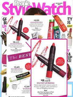 """Avon Ultra Color Lip Crayons featured in @People magazine magazine stylewatch as """"Best in Beauty!"""" #AvonMakeup.  Want to shop online visit my store at youravon.com/abascom"""