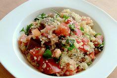 Quinoa con tomates y setas,
