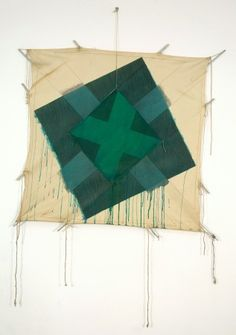Richard Smith: Double Cross (Green) (D) 1977, acrylic, oil & charcoal on canvas, 47 ¼ x 47 ¼ in/120 x 120 cm Kite Paintings | Abstract Critical