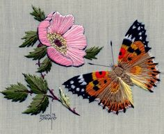 Avon Creative Needlecraft First Prize at the County Fair Crewel Embroidery Pictures Kit - Embroidery Design Guide Butterfly Quilt Pattern, Embroidery Flowers Pattern, Butterfly Embroidery, Embroidery Needles, Crewel Embroidery, Cross Stitch Embroidery, Machine Embroidery Designs, Thread Painting, Filet Crochet