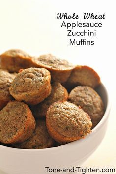 Whole Wheat Applesauce Zucchini Muffins on Tone-and-Tighten.com - one of my favorite breakfasts