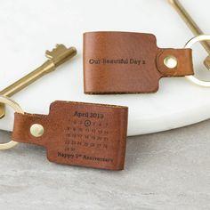 Personalised Third Wedding Anniversary Leather Keyring