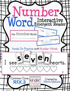 Number Word Book - Interactive Emergent Reader - Unscramble number words $2.00 - Common Core RF.K.3