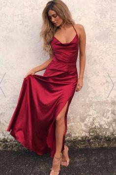 Open Back Prom Dress Burgundy Evening Dress Long Prom Dress Custom Evening Dress Simple Prom Dress Prom Dresses Long Grad Dresses Short, Straps Prom Dresses, Satin Dresses, Ball Dresses, Long Satin Dress, Silk Formal Dress, Red Silk Prom Dress, Dresses Dresses, Burgundy Satin Dress