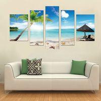 Pf5001 impresso 5 peças painel de pintura a óleo na parede lona de arte fotos para decoração de casa da luz do sol praia coqueiro