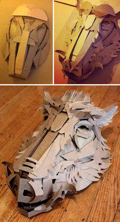 Boar Mask - cardboard sculpture process by Jacqui Oakley