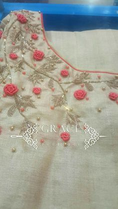 If I Had a Boutique - Salvabrani Embroidery On Kurtis, Hand Embroidery Dress, Kurti Embroidery Design, Embroidery Neck Designs, Embroidery Works, Embroidery Suits, Embroidered Clothes, Embroidery Fashion, Hand Embroidery Patterns