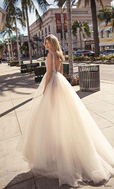 berta 2019 muse bridal sleeveless deep v neck heavily embellished bodice slit skirt glitzy romantic a line wedding dress v back chapel train (11) bv