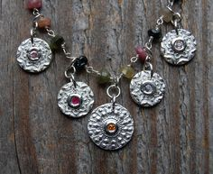 eco friendly silver necklace, choose stones and chain, feminine, vintage button