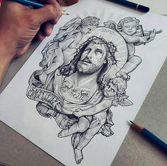 Jesus Tattoo On Arm, Jesus Tattoo Design, Christ Tattoo, Tattoo Design Drawings, Tattoo Designs Men, Chicano Tattoos Sleeve, Red Ink Tattoos, Chicano Tattoos Gangsters, Money Sign Tattoo