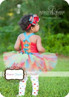 Bright Birthday Circus theme Set -Tutu,corset top, headband - 1st, 2nd ,3rd birthday,Photo Prop Baby shower gift Custom size made to order. $55.95, via Etsy.