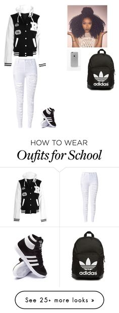 """school"" by alicesstyle on Polyvore featuring adidas, adidas Originals and LA: Hearts"