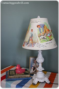 Use children's book pages to create a unique lamp shade! Perfect for a baby shower! #Goodwill is the place to go for inexpensive books and lamps...