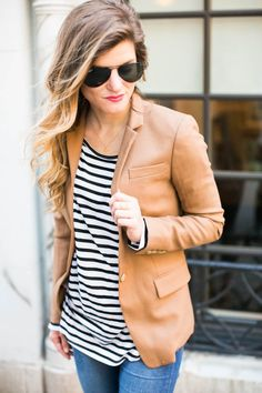 #BTDFALLBASICS: Camel blazer • #jcrew camel colored blazer and stripes