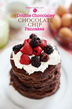 Double Chocolatey Chocolate Chip Pancakes - Chocolate lovers, this recipe is for you!