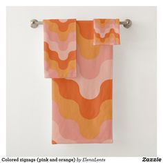 Shop Colored zigzags (pink and orange) bath towel set created by ElenaLents. Pastel Bathroom, Orange Bathroom Decor, Peach Bathroom, Orange Bathrooms, Brown Bathroom, Bathroom Wall Decor, Bathroom Colors, Bathroom Ideas, Colorful Bathroom